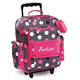 Personalized Rolling Luggage for Kids - Grey Multi-Dots Design, 20'H x 12' x 5', By Lillian Vernon