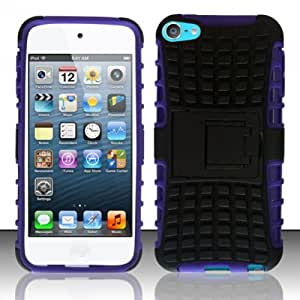 For iPod Touch 5 - PC+TPU Hybrid 3 Cover w/ Stand - Black/Purple HYB3