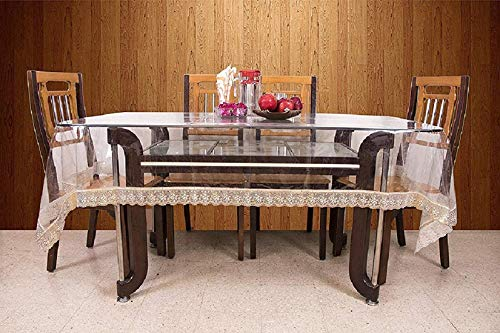 Kuber Industries PVC 6 Seater Transparent Dining Table Cover – Gold