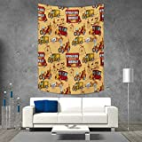 Cars Wall Tapestry Steampunk Inspired Vintage Means of Transportation Colorful Retro Design Home Decorations for Living Room Bedroom 40W x 60L INCH Mustard Red Olive Green