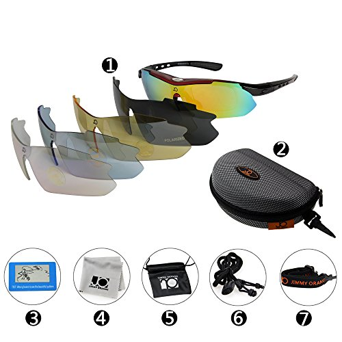 Jimmy Orange Multi Sport Sunglass Polarized Goggle with 5 Interchangeable Lenses Mirrored Outdoor Running Cycling Sunglasses with Carrying Case with Hook JO0868 (Multi Lens Sunglasses)