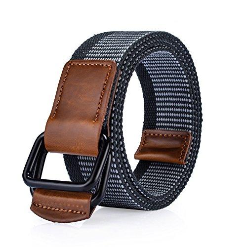 Canvas belt Jeans Belt Woven Double D Ring Webbing for Men and Women (Canvas Classic Belt)