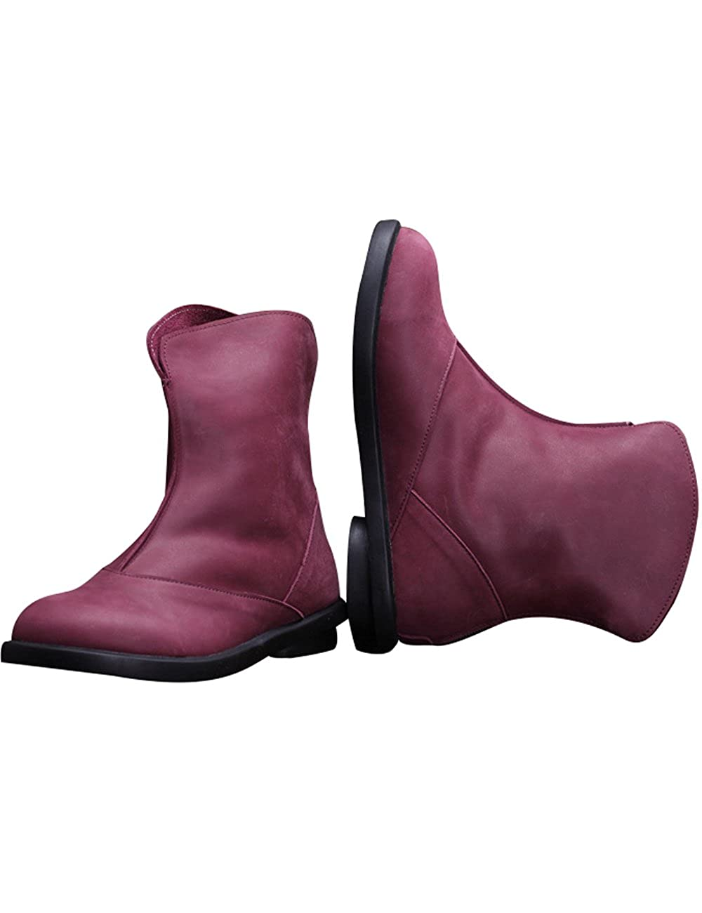 Zoulee Womens Autumn Winter Leather Flat Short Boots Warm Boots