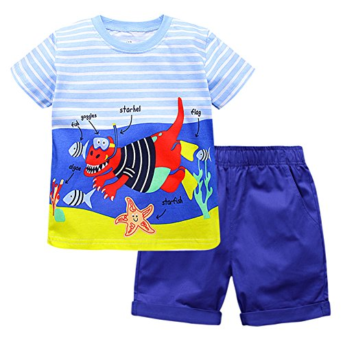 [Fiream Boys Summer Cotton Cute Animals Short Sets(20105TZ,4T)] (Animal Outfits For Toddlers)