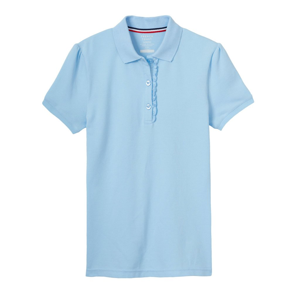 French Toast Big Girls' Short Sleeve Stretch Ruffle Polo, Light Blue, XL (14/16)