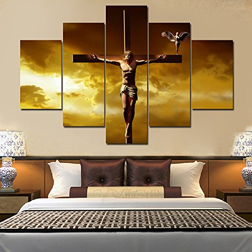 Extra Large 5 Piece Canvas Wall Art Jesus Crucifixion on Crosses HD Prints Painting Christian Religious Pictures for Living RoomHome Decor,Artwork Framed Giclee Stretched Ready to Hang(60''Wx40''H)