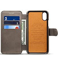 iPhone X Wallet Case, PU Leather Back Over Case with Credit Card holder Lunazoe