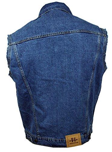"""WESTERN-SPEICHER Jeansweste """"WS"""" Fransen Blau - Größe 2XL"""