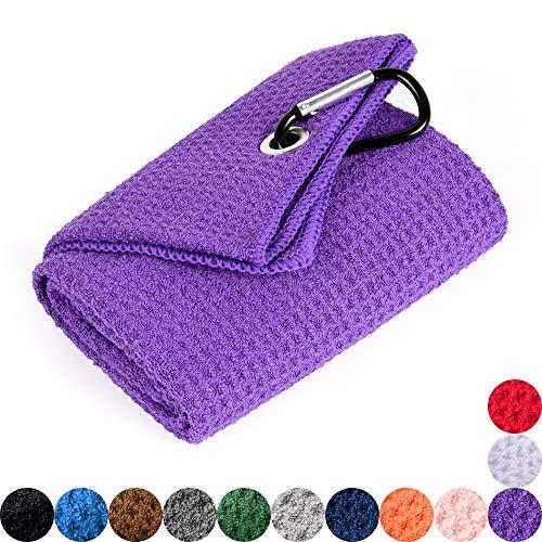 Mile High Life Tri-fold Golf Towel | Premium Microfiber Fabric | Waffle Pattern | Heavy Duty Carabiner Clip (Purple) ()