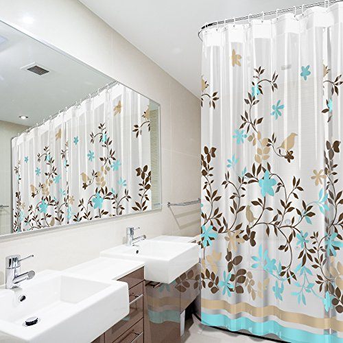 Amazon Com Blu Pier Decorative Peva Mildew Free Water Repellant Shower Curtain X Comes With  Hooks Birds And Leaves Home Kitchen
