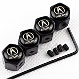 CHAMPLED NEW (4PC) ACURA LOGO METAL BLACK ANTI-THEFT WHEEL TIRE AIR VALVE STEM CAPS DUST COVER