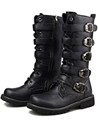 Mens Black Mid Calf Buckle Strap Side Zip Winter Boots 555