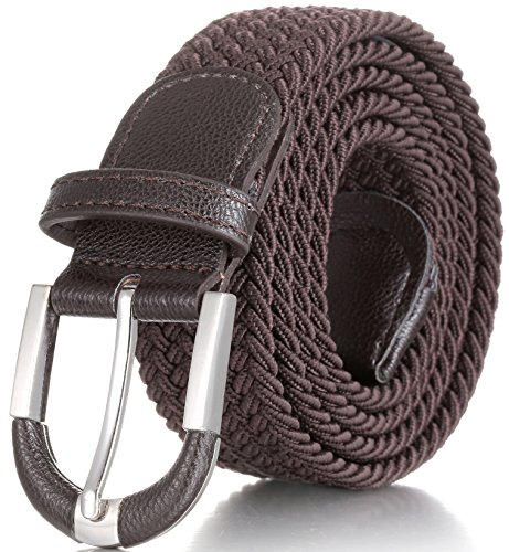 Marino Braided Stretch Belt - Fabric Woven Belt - Casual Weave Elastic Belt for Men and Women - PU Leather Loop and End Tip - Brown - (Loop Tip)