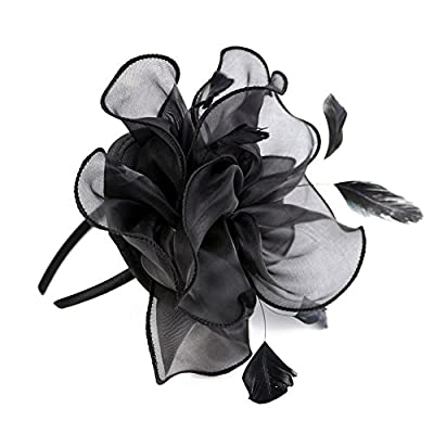 Song Qing Fascinator Women Ladies Silk Yarn Feather Hair Hoop Cocktail Party Wedding Sinamay Headband