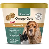NaturVet Omega-Gold Plus Salmon Oil for Dogs, 90 ct Soft Chews, Made in USA