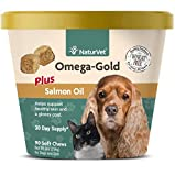 NaturVet - Omega-Gold Plus Salmon Oil - Supports Healthy Skin & Glossy Coat - Enhanced with DHA, EPA, Omega-3 & Omega-6 - for Dogs & Cats - 90 Soft Chews