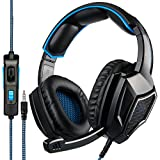 Cheap [2018 Newest Updately] Sades SA920 Wired Stereo Gaming Headset Over Ear Headphones with Microphone for New Xbox One / PS4 / PC /Cell phones- Black/blue