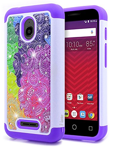 Alcatel Ideal Case with [Tempered Glass Screen Protector], Alcatel Pixi Avion 4G LTE/Pixi Bond/Ideal 4G LTE/Dawn / Streak, NageBee Silicone Cover Studded Rhinestone Bling Design Hard Case-Purple