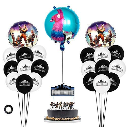 (Bubble Pop Toys Video Game Party Supplies. Kit Includes 7'' Battle Cake Topper,18 Latex Baloons,2 Character Foil Balloons, and 1 Llama Balloon. The Ultimate Gamer Birthday Party for Boys and Girls)