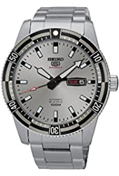 Seiko Automatic SRP729 5 Sports Silver Dial Stainless Steel Mens Watch