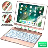 Keyboard Case Compatible with iPad 2018 (6th Gen), iPad 2017 (5th Gen), iPad Pro 9.7,'' and iPad Air 1 and 2 - Features Detachable Design, Rotating Hinge and Adjustable Backlight (Rose Gold)