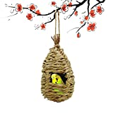 Maymii•Home 100% Natural Fiber Hand Woven Teardrop Shaped Grass Bird Hut Cozy Resting Place Shelter from Cold Weather for Birds Finch and Canary