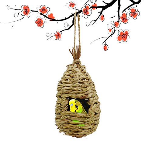 Maymii•Home 100% Natural Fiber Hand Woven Teardrop Shaped Grass Bird Hut Cozy Resting Place Shelter from Cold Weather for Birds Finch and Canary by Maymii•Home