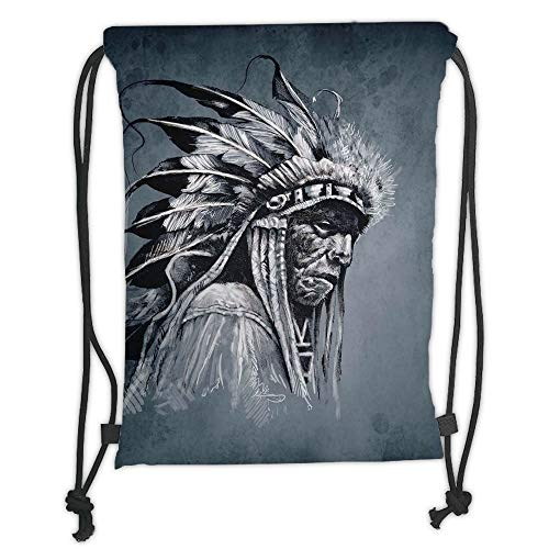 (New Fashion Gym Drawstring Backpacks Bags,Native American,Hand Drawn Tribe Chief Head with Feathers Vintage Style Ethnic Art,Grey Black White Soft Satin,Adjustable String Closure,)