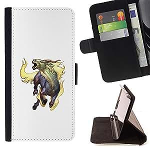 BullDog Case - FOR/Samsung Galaxy S3 III I9300 / - / GOAT MYTHICAL CREATURE FIRE HORNS UNICORN ART /- Monedero de cuero de la PU Llevar cubierta de la caja con el ID Credit Card Slots Flip funda de cuer