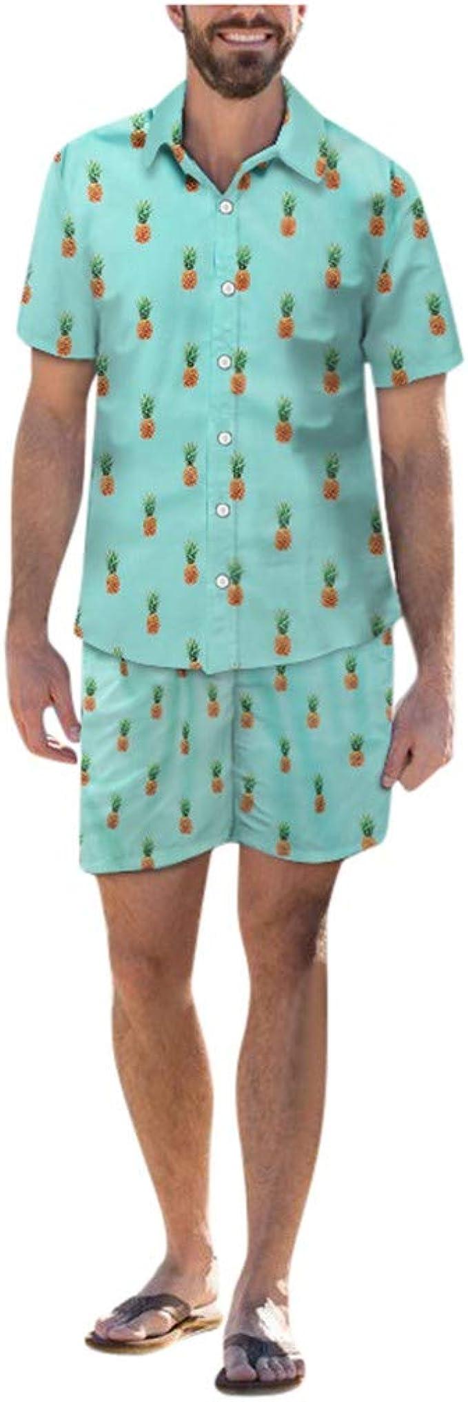 Camisas hawaianas para Hombre Manga Corta Blusa Prenda para el torso Camiseta Informal de vacaciones de verano playa