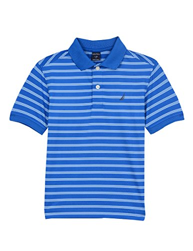 Nautica Boys' Big Short Sleeve Striped Performance Polo Shirt, Shore Lapis Blue, Medium (10/12)