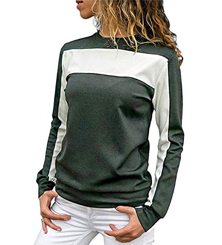 Longues Printemps Casual Gris Hauts Pulls Shirts Rond Patchwork Shirts Blouse Jumpers JackenLOVE Tops T Automne Col Mode Manches Sweat Tees Femmes et EZSWz1wzvq