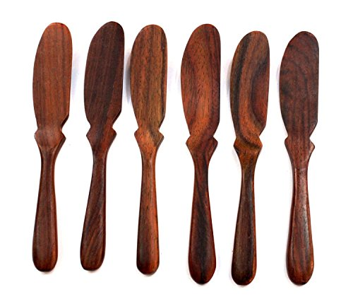 Natural Rose Wood Wooden Jam Cheese Bread Butter Knife Spread Spreader, 6 Pcs.