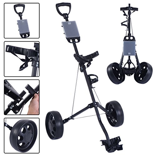 Review Tangkula Golf Cart Foldable 2 Wheel Push Pull Cart Trolley (Small, with cup holder)