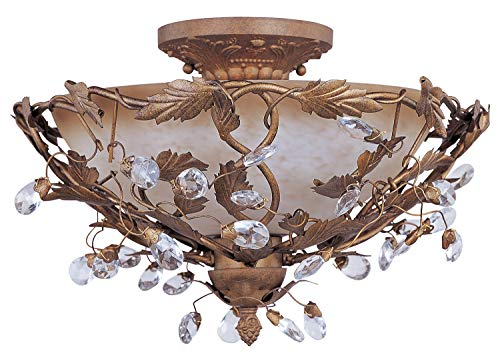Three Light Etruscan Gold Frosted Ivory Glass Bowl Semi-Flush Mount ()