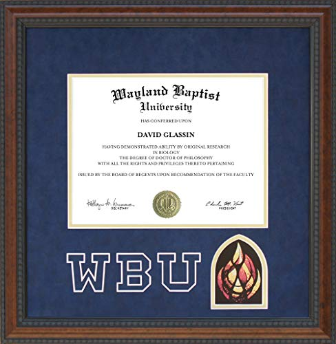 Wordyisms Wayland Baptist University (WBU) Logo Diploma Frame with Ultrasuede Matting