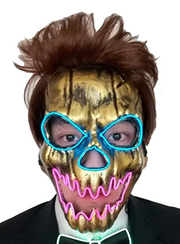 galaxyhkt cosplay EL ghost light up Creepy angry Death skull led Party mask (golden) (Creepy Mask For Sale)