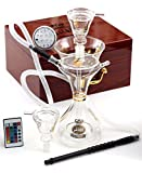 15 inches Premium Latest Original Glass Hookah by Al Fakher, in Wooden Case With Led Base and Remote