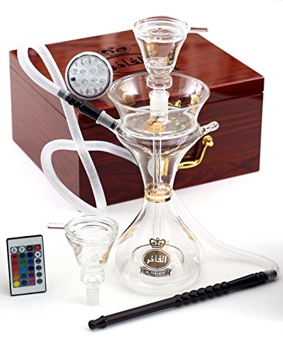 15 inches Premium Latest Original Glass Hookah by Al Fakher, in Wooden Case With Led Base and Remote by Al Fakher