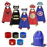 Cartoon Dress up Costumes Kids 5 Characters Satin Supehero Capes with Felt Masks