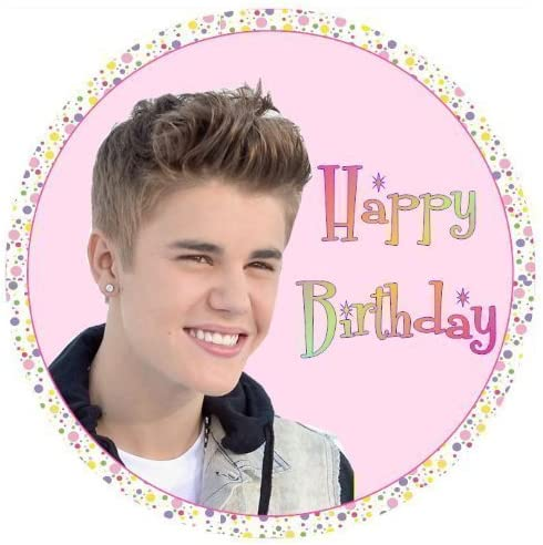 Wondrous Justin Bieber Happy Birthday Cake Topper Edible Sugar Icing 7 5 Funny Birthday Cards Online Elaedamsfinfo