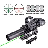 Pinty AR15 Rifle Scope 3-9x32EG Rangefinder Illuminated Optics Reflex 4 Reticle Red&Green Sight Green Dot Laser Sight with 22 & 11mm Weaver/Picatinny Rail Mount