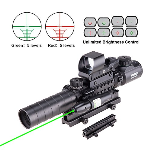 Pinty Rifle Scope 3-9x32 Rangefinder Illuminated Reflex Sight 4 Reticle Green Dot Laser Sight with 14 Slots 1 inch High Riser Mount (Best Scope For Ar 15 100 Yards)