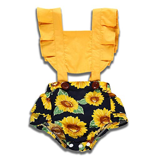YOUNGER TREE Newborn Toddler Baby Girls Lace Romper Cute Flower Bodysuit Summer One Piece Jumpsuit Clothes (6-12 Months, Yellow) -