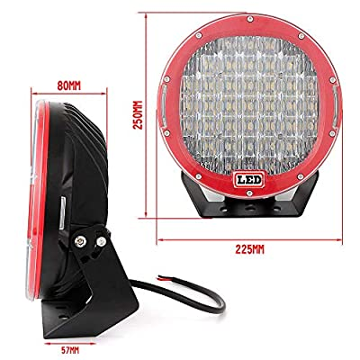 Willpower 2PCS 96W Round Red LED Spot Driving Work Light 9 Inch ATV 4x4 Boat Off Road Head Light: Automotive