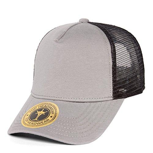 TopHeadwear Jersey Knit Five Panel Pro Style Mesh Back Caps, Grey/Black Five Panel Pro Style Caps