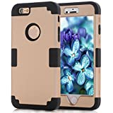 iPhone 6 Case 4.7, iPhone 6 Cases Hard Cover Shell TPU Rubber 2 Piece Ultra Slim Thin Bumper Covers Apple iPhone 6S Case Durable Protective Design Hybrid Defender Heavy Duty Shockproof(Black and Gold)