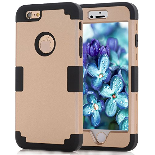 Gold iPhone 6S Case for Men Boys, Girly iPhone 6 Case Heavy Duty Shockproof Case, Black Case iPhone 6S Defender Skin, Soft Silicone Shell Hard Plastic Bumper Cell Phone Case for iPhone 6S and iPhone 6]()