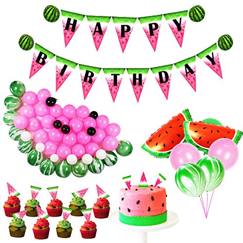 Watermelon Party Supplies- Happy Birthday Banner,Watermenlon Foil Balloons,Latex Party Balloons,Cupcake Toppers for Kids Birthday Baby Shower Decoration