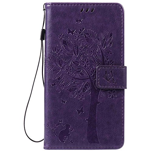 Samsung Galaxy Note 3 Case, C-Super Mall Embossed Tree Cat Butterfly Pattern PU Leather Wallet Stand Flip Case for Samsung Galaxy Note - Mall Tree